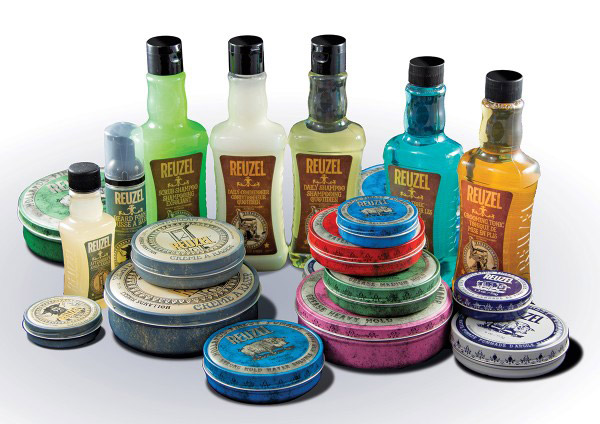 tins and bottles of Reuzel hair products