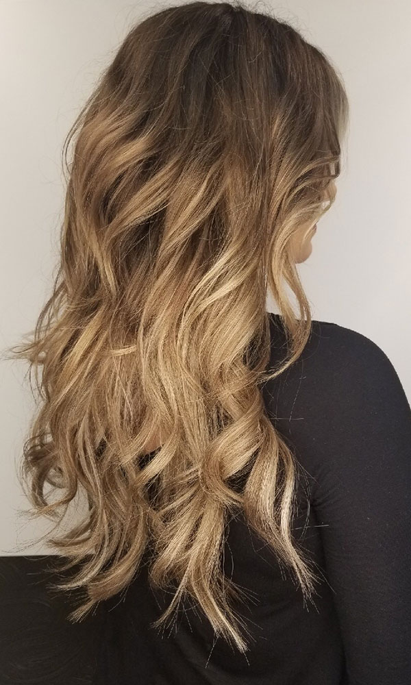 brown to blonde curled hair